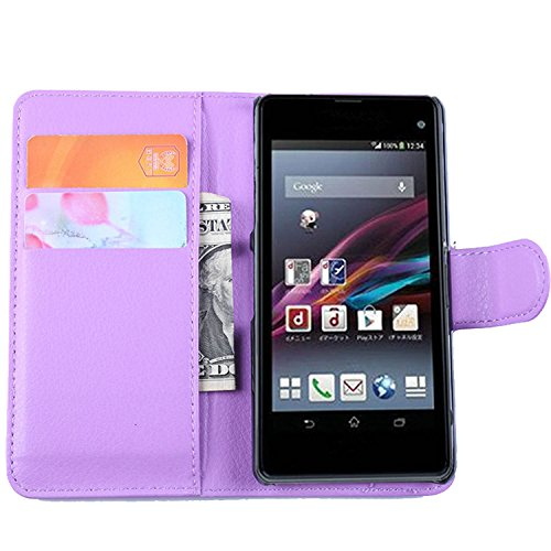 Ycloud Tasche für Sony Xperia Z1 Compact (4.3 Zoll) Hülle, PU Ledertasche Flip Cover Wallet Hülle Handyhülle mit Stand Function Credit Card Slots Bookstyle Purse Design lila
