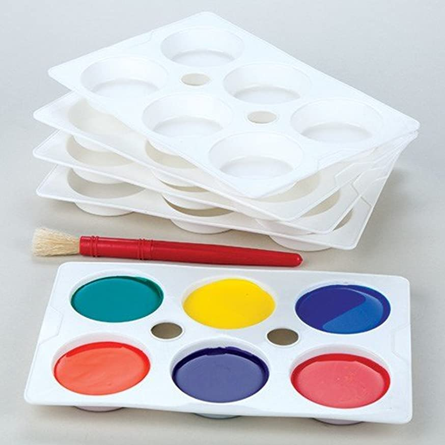 Baker Ross 6 -Well Paint Palettes (Pack of 5) Plastic Paint Palettes for Kids Painting