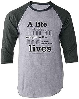 Pop Threads Jackie Robinson Life Quote Raglan Baseball Tee Shirt