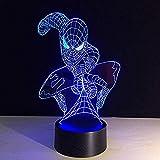 Spiderman forme 3D LED veilleuse lampe acrylique 7 changement de couleur USB bébé sommeil éclairage cadeau créatif haut-parleur bluetooth USB rechargeable lecture sommeil nuit nourrit décor pour