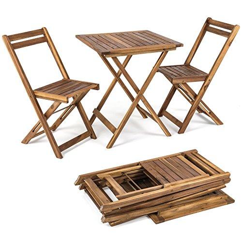 ESTEXO Balkonset 3tlg. Klapptisch + 2 Stühle aus Holz, Gartenset, Bistro, Set, Garnitur