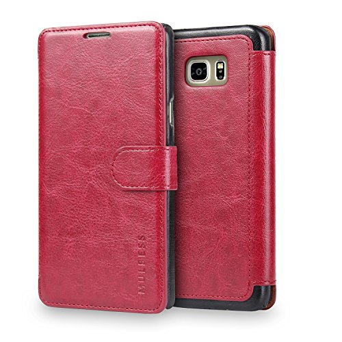 Mulbess Handyhülle für Samsung Galaxy Note 5 Hülle Leder, Samsung Galaxy Note 5 Handy Hüllen, Layered Flip Handytasche Schutzhülle für Samsung Galaxy Note 5 Hülle, Wein Rot