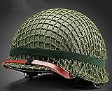 MEYLEE Vert de Champ en Acier de Casque de la WW2 US Replica WW2 avec la Reproduction Nette de Ceinture d'oeil de Couverture