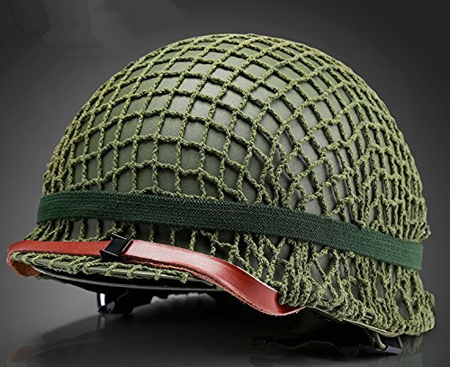 Replica WW2 US M1 Helm Steel Field Green Mit Net Cover Eye Belt Reproduktion