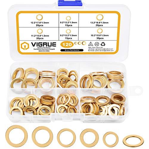 VIGRUE Set di 120 rondelle in ottone ottonato Ø9.2/10.2/11.2/12.2/13.2 mm per cerniere della porta, nastri in scatola assortita
