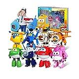 WZLDP Alas súper Familia Conjunto, Súper Alas Transfiguración del Robot 12 Conjuntos reunión, 4 Figuras de acción de la resurrección de Vinilo removible 8 ABS transfiguración Robots