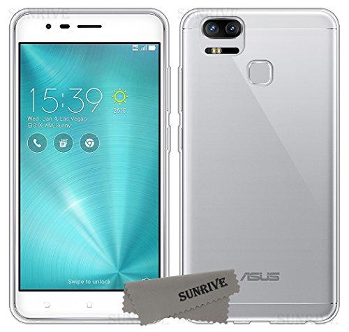 Sunrive Cover per ASUS ZenFone Zoom S ZE553KL 5,5 Pollici, Custodia Case in Molle Trasparente TPU Silicone Morbida Flessibile Pelle AntiGraffio Protettiva(TPU Nessuna Immagine)