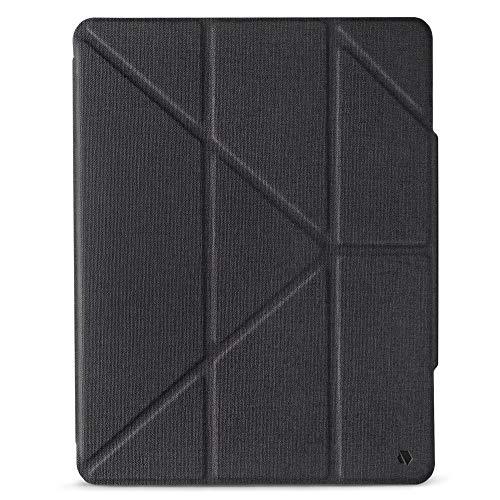 JTLEGEND AMOS iPad Pro 2020 - 12.9' Folio Case with Pencil Clip Clear Back Auto Sleep/Wake Quick Camera Access Corner Multiple Folding Angles Magnetic Closure (Dark Grey)