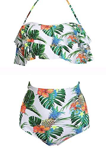 AOQUSSQOA Damen Badeanzug Rüschen Hals Hängen Bikini Sets Zweiteilige Bademode mit Hoher Taille Strandkleidung (EU 34-36 (S), Pineapple B)