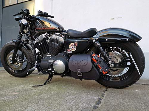 Orletanos Sporty Crâne Noir Compatible avec Harley Davidson Sacoche Oscillant Poche Latérale Sportster Quarante Huit Lowrider Garde-Boue XL 1200 48 883 Orletanos Sac de Motard Noir