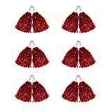 Hooshing 12 Pcs Pom Poms Cheerleading Metallic Foil Cheer Pom Poms with Plastic Handles for Team Sports, Red Update