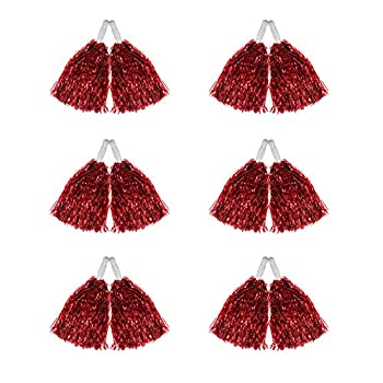 Hooshing 12 Pcs Pom Poms Cheerleading Metallic Foil Cheer Pom Poms with Plastic Handles for Team Sports Red Update