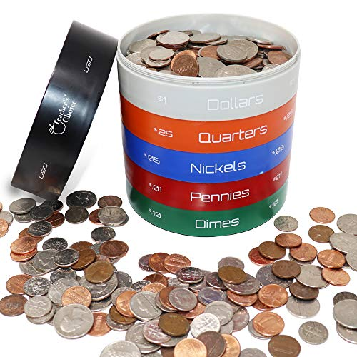 Teacher's Choice Twist & Shake Coin Sorting Jar   All in One Coin Sorter Tray and Coin Storage Container