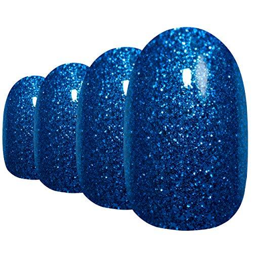 Falsche Nägel Bling Art Blau Gelnägel Oval 24 Kunstnägel Mittel Tipps mit Kleber