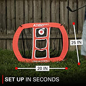 Rukket Skee Pop Up Golf Chipping Net   Outdoor / Indoor Golfing Target Accessories and Backyard Practice Swing Game