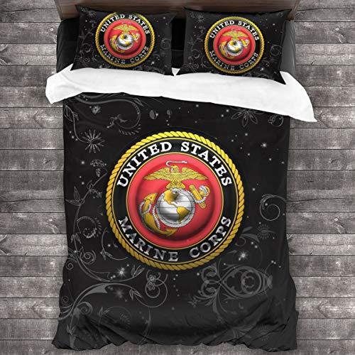 YVVT United States Marine Corps American Flag 3-Piece Bedding Set Microfiber Bedding (86inx70in)