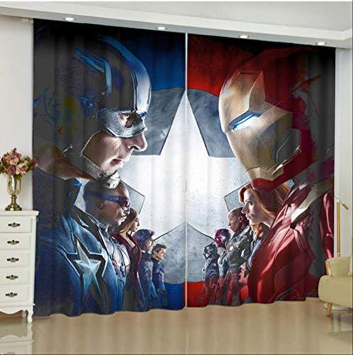 FANGXUEPING Die Avengers Vorhänge Für Fenster Marvel Eisen Mann Batman Jalousien Fertig Drapery Rideaux Vorhänge Salon Zimmer Jalousien Breite300cm * Höhe210cm pro