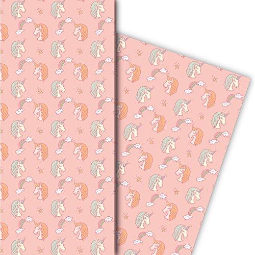 Kartenkaufrausch meisjes cadeaupapier set met eenhoorns en regenboog voor leuke cadeauverpakking, designpapier, scrapbooking 32 x 48 cm, decoratiepapier, inpakpapier om in te pakken, roze