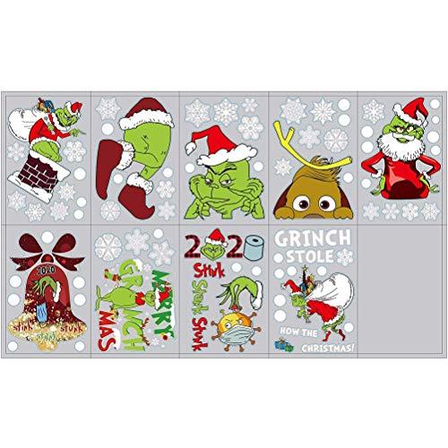 penglai Pegatinas de ventana de Navidad 9 hojas de Navidad para ventana de invierno de Navidad, decoración de vacaciones de cristal, decoración de oficina, hogar, tienda