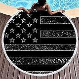 Toalla de Playa Redonda con borlas Bandera Americana Vintage Estampado Negro Funda de Playa de Moda Blanco 59 pulgadas-Blanco-59 Pulgadas