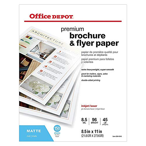 Office Depot Professional Brochure and Flyer Paper, Matte, 8 1/2in. x 11in, 45 Lb, Pack of 150 Sheets, 124210