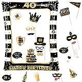 Photocall Cumpleaños 40 Años 24pcs Photo Booth Props+ Marco inflable de Fotocol Adornos Accesorios Decoración Fiesta Cumpleaños (40 Años)