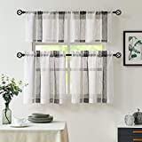 Black and White Kitchen Window Curtain Tiers Vertical Stripe Semi-Sheer Boucle Linen Window Curtain, Living Room Decorative Rod Pocket Rustic Living 2 Panels (28' x 24')