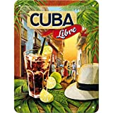 Nostalgic-Art Cartel de Chapa Retro Cuba Libre – Idea de Regalo como Accesorio de Bar, metálico, Diseño Vintage para decoración Pared, 15x20x0.2 cm