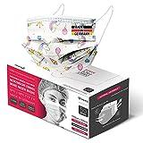 HARD 50x Medizinischer Mundschutz, Made in Germany, OP-Maske TYP IIR, CE zertifiziert EN14683, BFE 3-lagig 99,78% schützende Mund-Nasen-Bedeckung, Einweg-Gesichtsmasken Erwachsene - Einhorn