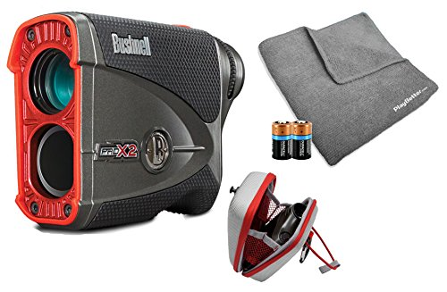 Bushnell Pro X2 Golf Laser Rangefinder Bundle | Includes Golf Rangefinder (Slope & Non-Slope Function) with Carrying Case, PlayBetter Microfiber Towel and Two (2) CR2 Batteries