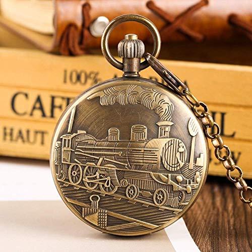 ZHAOJ Reloj de Bolsillo Cobre Puro Tourbillon Fases Luna Sol Torneado Reloj de Bolsillo mecánico Locomotora Grande Retro Diseño de Tren de Vapor Relojes de Cadena