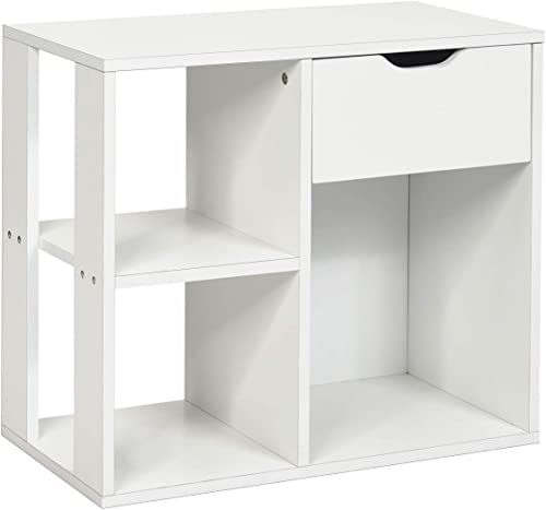 popular Giantex End Table new arrival with Storage Drawer and online 2 Shelves Sofa Side Table for Small Spaces,for Living Room, Bedroom Nightstand (1, White) online