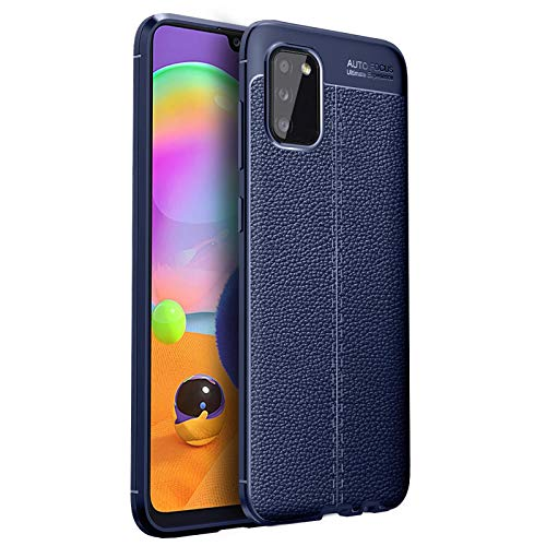 GOKEN Funda para Xiaomi Mi 11i, TPU Silicona Protección Carcasa, Bumper Caso Case Cover con Shock- Absorción & Patrón Cuero (No Cuero), Azul