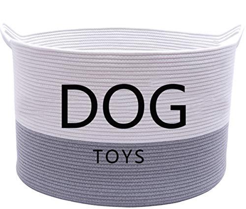 Morezi Katoenen touw ronde hond speelgoed mand met handvat, grote hond bin - Perfect voor het organiseren van speelgoed voor huisdieren, dekens, riemen