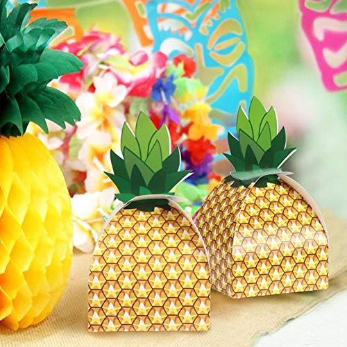 Ewer Lot de 36 boîtes à dragées en forme dananas 3D pour fêtes hawaïennes tropicales et bonbons Luau BBQ Fruits Fête Mariage Décorations Friandises Fournitures