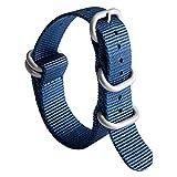 Cinturino per Orologio in Nylon G10 Zulu Cinturini Militare Premium Balistico Multicolori per Uomo Donna 18 mm 19 mm 20 mm 21 mm 22 mm 23 mm 24 mm con Fibbia in Acciaio Inossidabile Argento/Nero