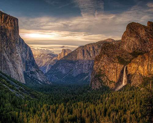 Digitales Malen nach Zahlen für Erwachsene Yosemite National Park Landschaft Leinwand Malvorlagen Moderne DIY Kits Kunstraum Einzigartiges Dekor Geschenk Rahmenlos 40X50Cm