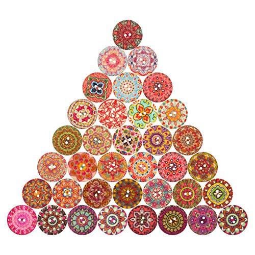 LEMESO 120 x Botones de Madera de Flores Coloridas al Azar, Botones Vintage, Botones de Costura de 2 Agujeros 20mm de Ancho