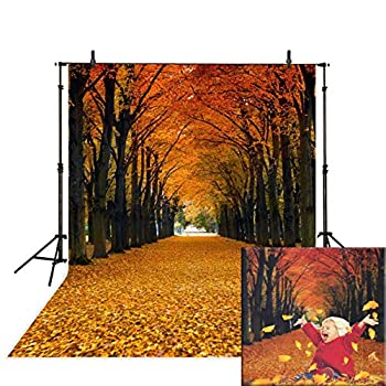 Funnytree 5x7ft Durable Fabric Maple Leaves Photography Backdrop Autumn Fallen Yellow Tunnel Scenery Natural Season Background Fall Tree Street Road Photo Studio Props Photobooth Poster Photoshoot