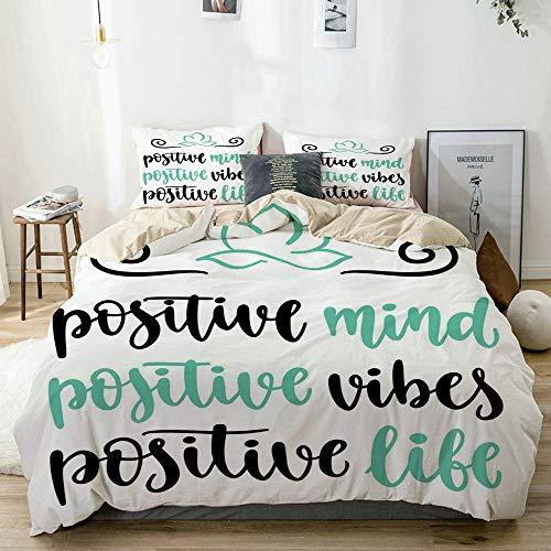 Juego de funda nórdica beige, caligrafía moderna, vibraciones de mente positiva y frase de vida, yoga Lotus, juego de cama decorativo de 3 piezas con 2 fundas de almohada, fácil cuidado, antialérgico,