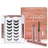 Magnetic Eyelashes and Magnetic Eyeliner Kit, 7 Pairs 3D and 5D different Lengths & Densities Magnetic Eyelashes, 2 Tubes of Magnetic Eyeliner and Tweezer, Natural Look & Reusable False lashes