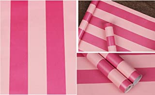 PoetryHome Self Adhesive Vinyl Red Pink Stripe Contact Paper Peel and Stick Wallpaper for Walls Kids Girls Nursery Bedroom 17.7x117 Inches