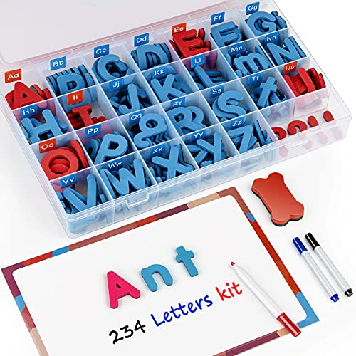 JoyNote Classroom Magnetic Letters Kit 234 Pcs with Double-Side Magnet Board - Foam Alphabet Letters for Kids Spelling and Learning