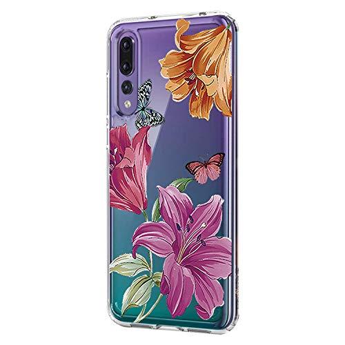 Huawei P20 hoesje, Huawei P20 Lite doorzichtige hoes hoes flexibel TPU silicone fashion flower design telefoonhoes transparant beschermhoes voor Huawei P20 Pro