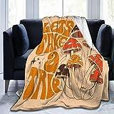 Jreergy Throw Blankets - Retro 70s Mushroom Fleece Blanket,Ultra-Soft Micro Fleece Blanket for Bedroom Sofa Couch Blankets and Throws
