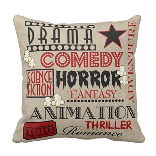TAShermanStore 18 x 18 Inches Decorative Cotton Linen Square Throw Pillow Case Cushion Cover Movie Theater Cinema Genre ticket Design