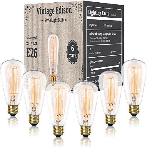 Vintage Antique Edison Style Bulbs - 6 Pack - 120 Volts / 60 Watts - Incandescent Clear Dimmable Exposed Filament - 370 Lumens - E26 / E27 Base Pendant Lighting (Squirrel Cage) (Non-LED)