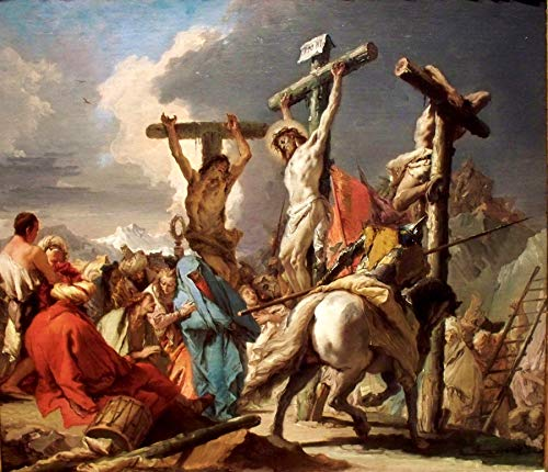 "Giovanni Battista Tiepolo The Crucifixion 1745-1750 Saint Louis Art Museum 24"" x 21"" Fine Art Giclee Canvas Print (Unframed) Reproduction"