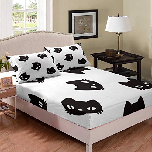 Juego de sábanas para gatos y mascotas, juego de cama de animales para niños, niñas, decoración de la habitación de dibujos animados, gato, color blanco y negro, tamaño doble con 2 fundas de almohada
