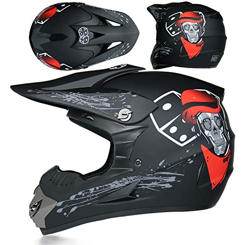 ZYW Moto Mountain Bike Casco Integrale, Casco del Fronte Pieno Casco Integrale, off-Road Casco del Motociclo, Casco di Sicurezza DOT Approvati, Occhiali, Guanti, Visiera,Style 5,S